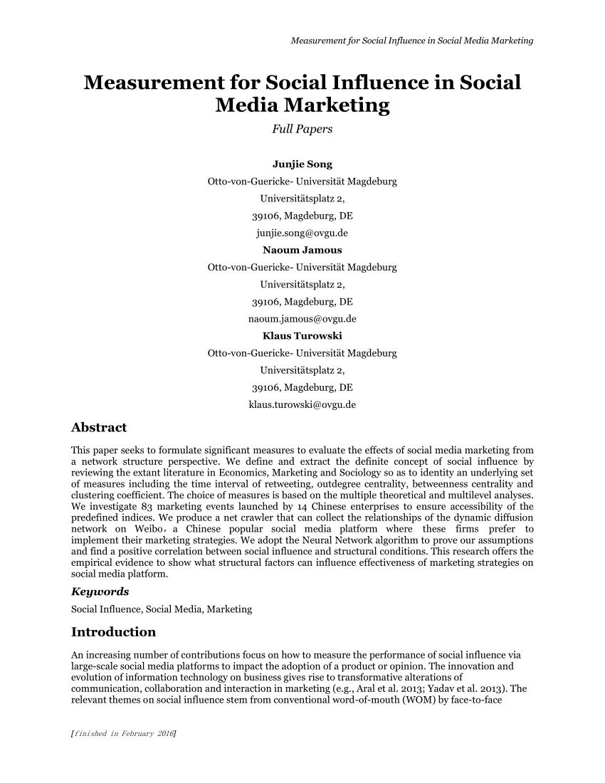 (PDF) Measurement for Social Influence in Social Media Marketing