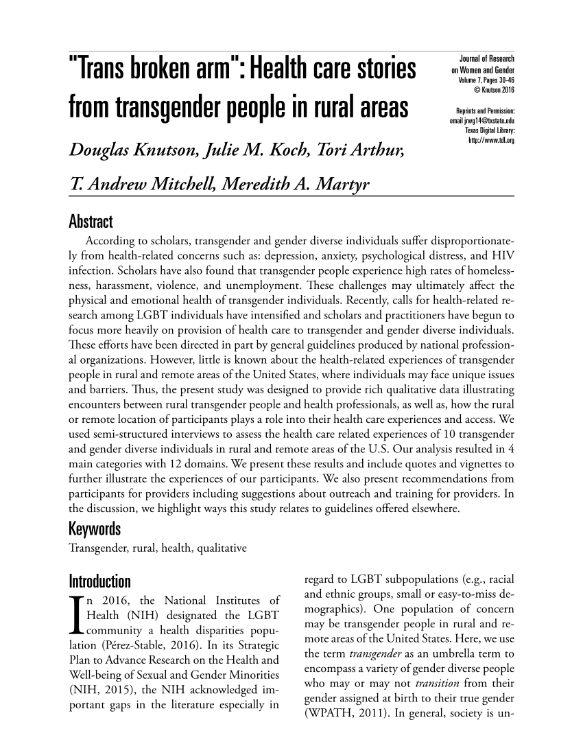 "PDF ""Trans Broken Arm"" Health Care Stories From Transgender People"