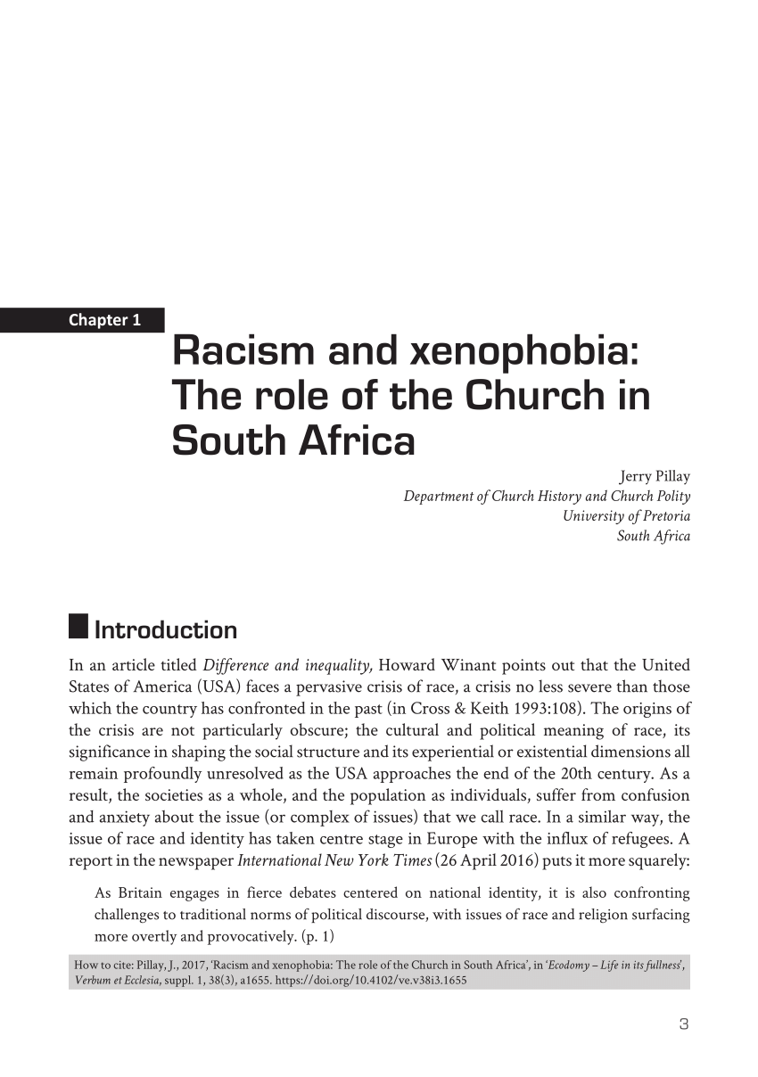 PDF Racism And Xenophobia The Role Of The Church In South Africa