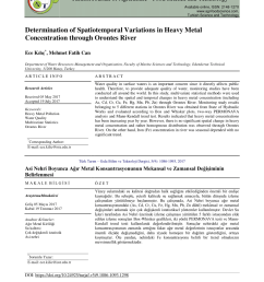 pdf determination of spatiotemporal variations in heavy metal concentration through orontes river [ 850 x 1202 Pixel ]