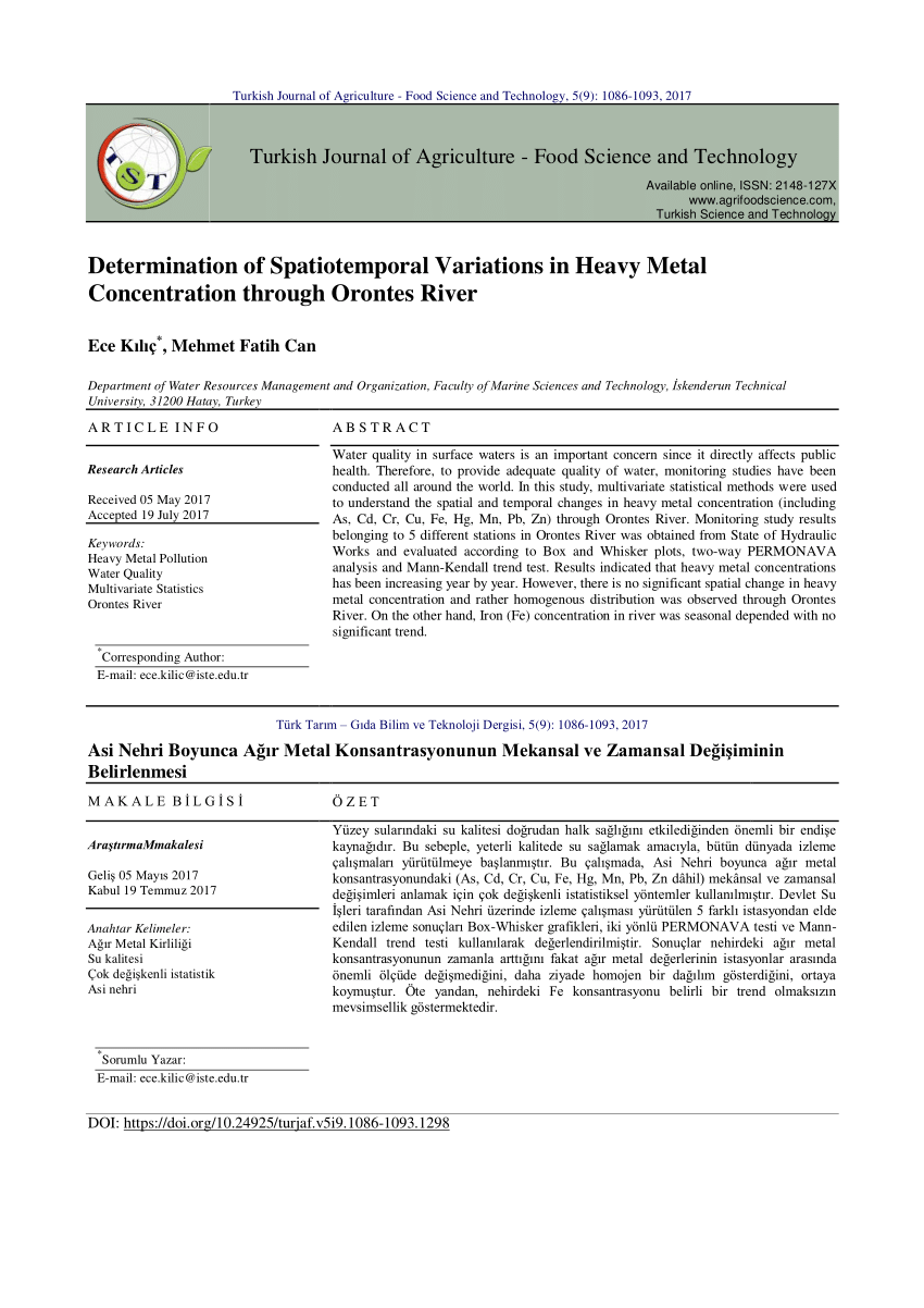 medium resolution of  pdf determination of spatiotemporal variations in heavy metal concentration through orontes river