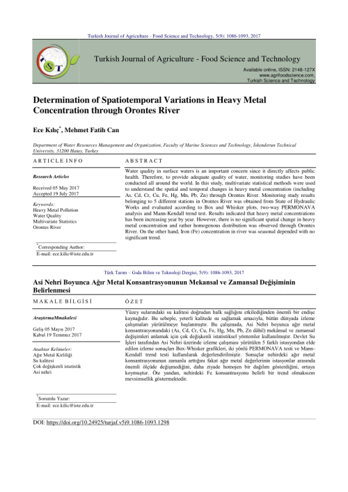 small resolution of  pdf determination of spatiotemporal variations in heavy metal concentration through orontes river