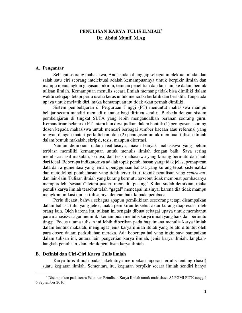 Contoh Kerangka Ilmiah : contoh, kerangka, ilmiah, PENULISAN, KARYA, TULIS, ILMIAH
