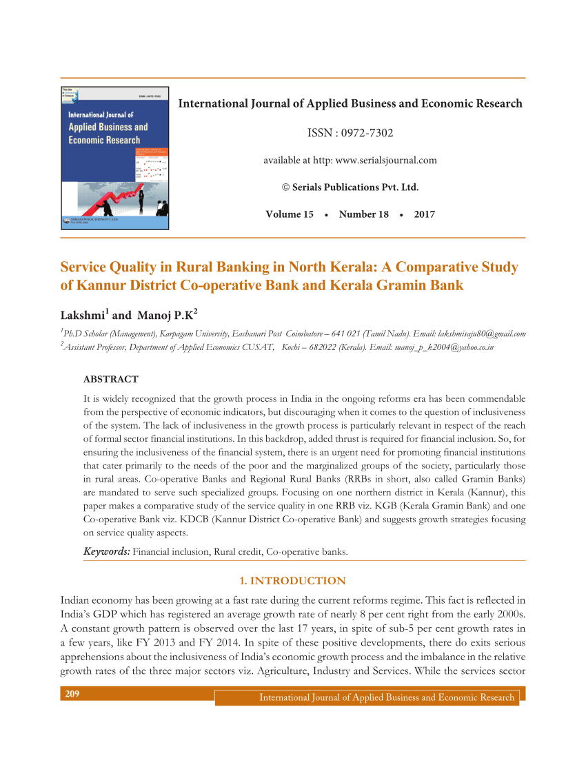 Pdf Service Quality In Rural Banking In North Kerala A Comparative Study Of Kannur District Co Operative Bank And Kerala Gramin Bank