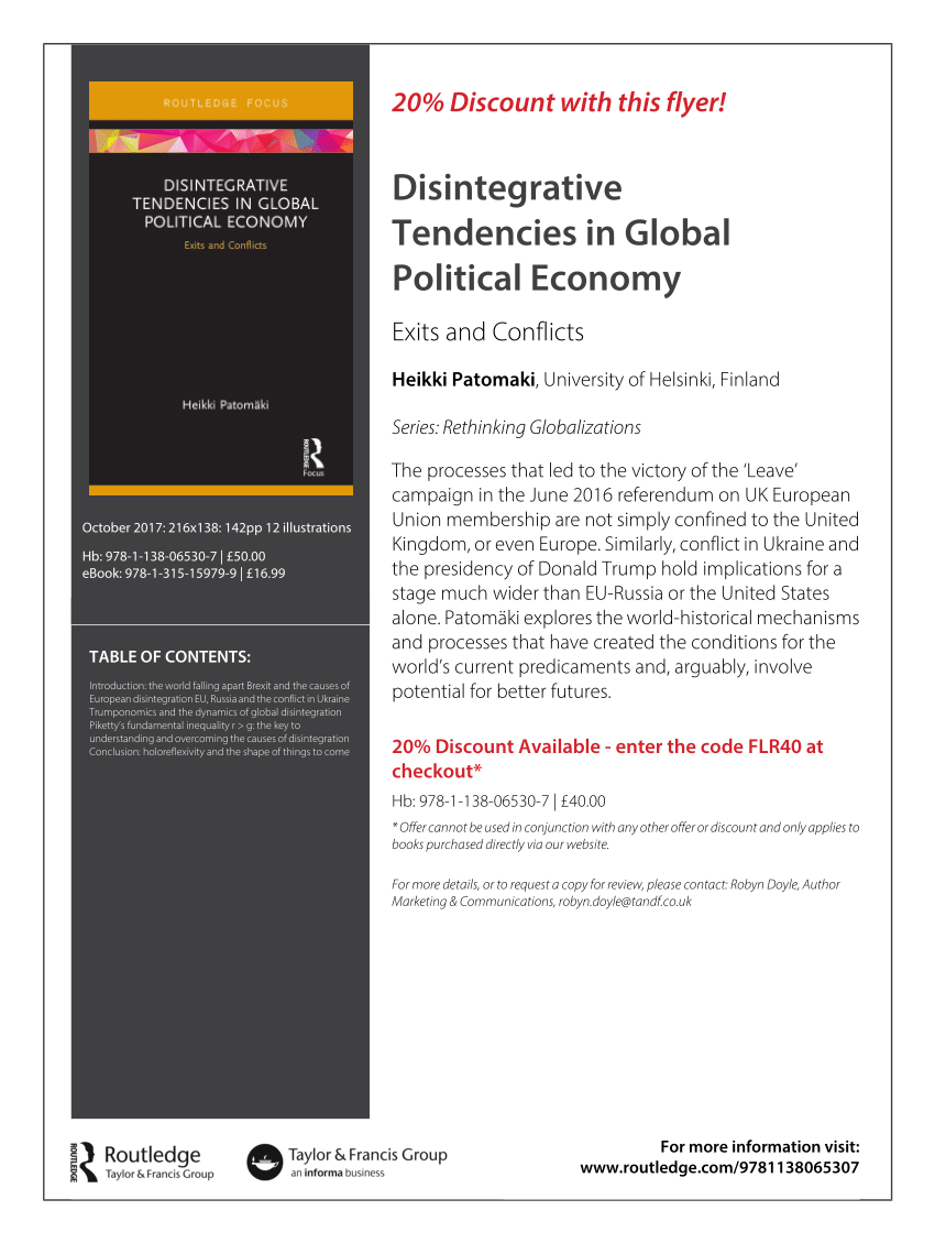 (Pdf) Disintegrative Tendencies In Global Political Economy: Exits And  Conflicts