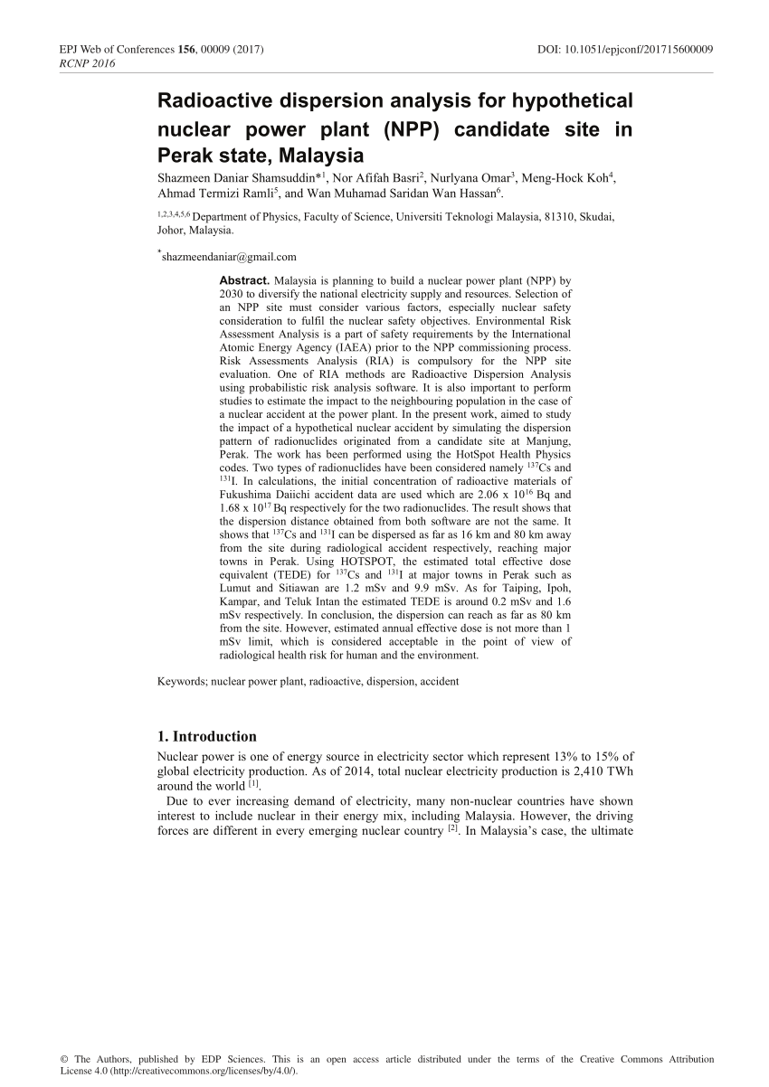 (PDF) Radioactive dispersion analysis for hypothetical