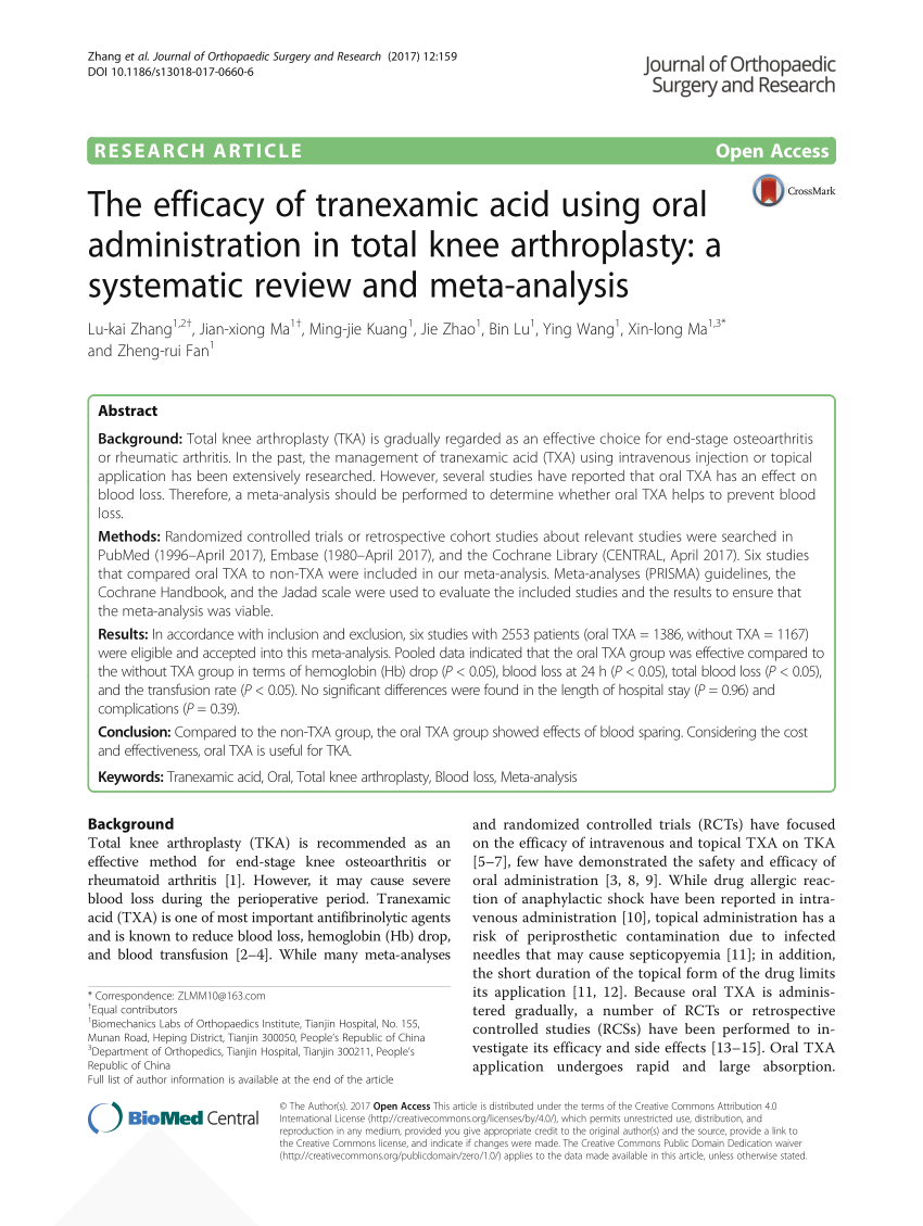 PDF The Efficacy Of Tranexamic Acid Using Oral Administration In