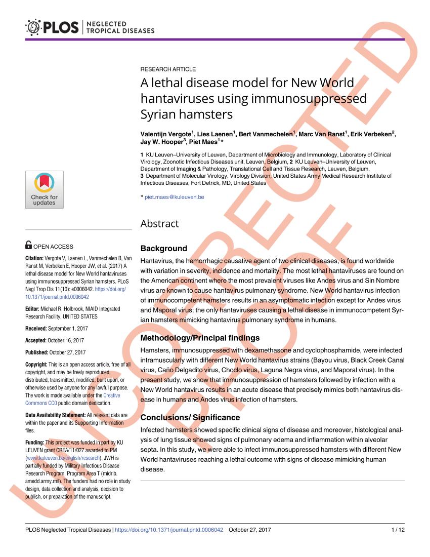 Animal models for the evaluation of hantavirus pathogenesis ...