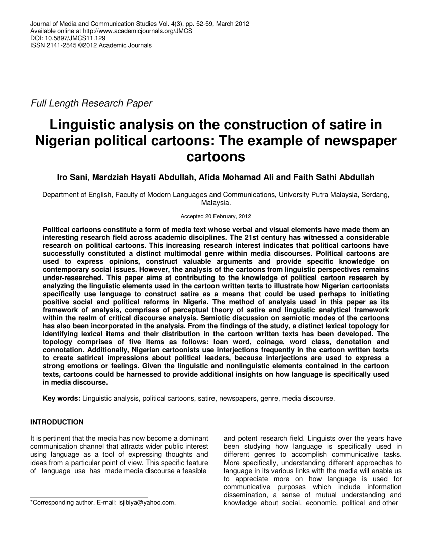 PDF Linguistic Analysis On The Construction Of Satire In Nigerian