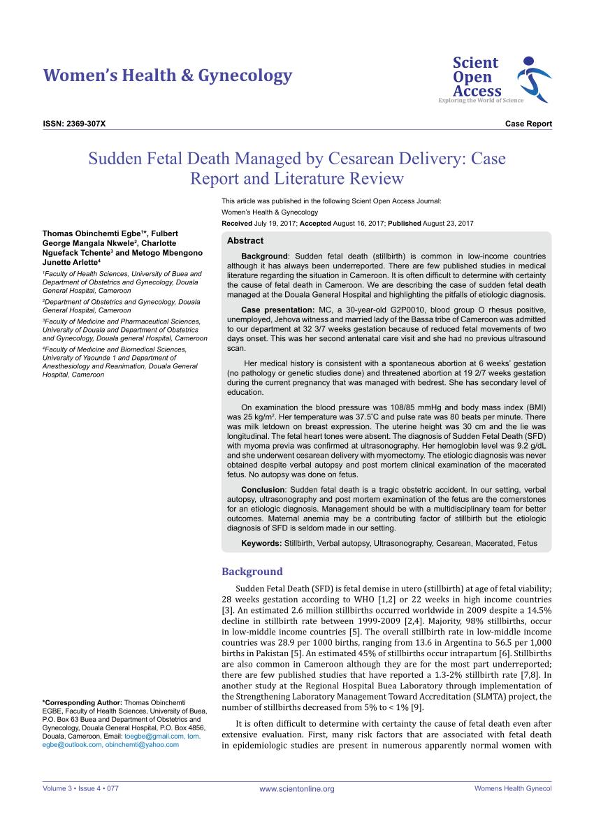 (PDF) Sudden Fetal Death Managed by Cesarean Delivery