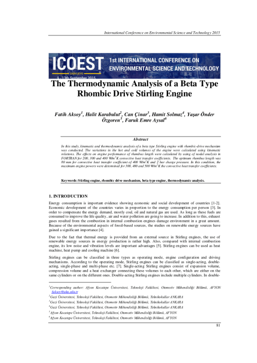 small resolution of  pdf the thermodynamic analysis of a beta type rhombic drive stirling engine