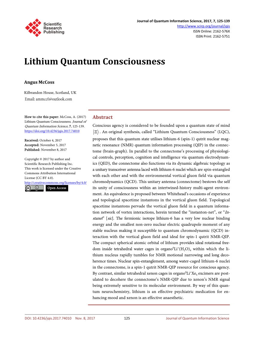 medium resolution of  pdf lithium quantum consciousness