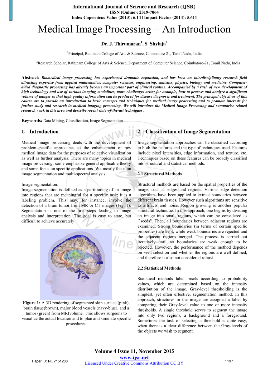 PDF Medical Image Processing An Introduction