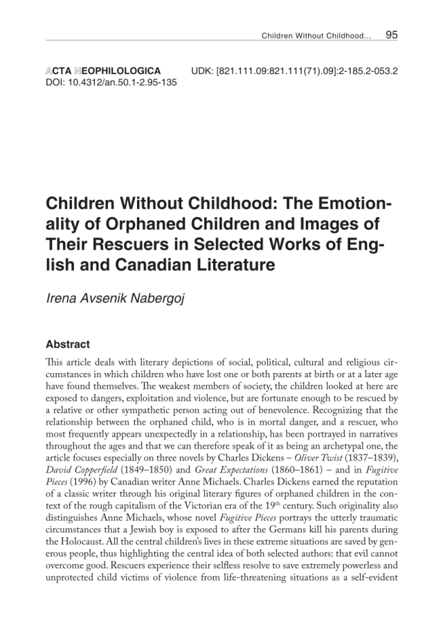 PDF) Children Without Childhood: The Emotionality of Orphaned