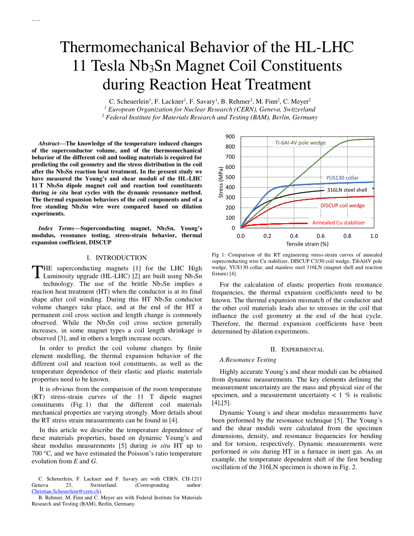 medium resolution of  pdf thermomechanical behavior of the hl lhc 11 tesla nb3sn magnet coil constituents during reaction heat treatment