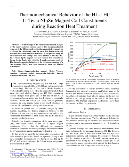 small resolution of  pdf thermomechanical behavior of the hl lhc 11 tesla nb3sn magnet coil constituents during reaction heat treatment