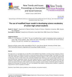 pdf the use of modified frayer model in developing science vocabulary of senior high school students [ 850 x 1053 Pixel ]