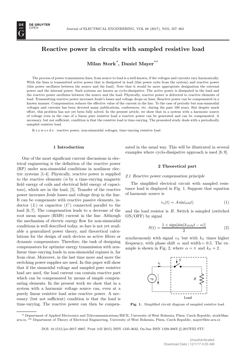 medium resolution of  pdf power factor compensation of electrical circuits