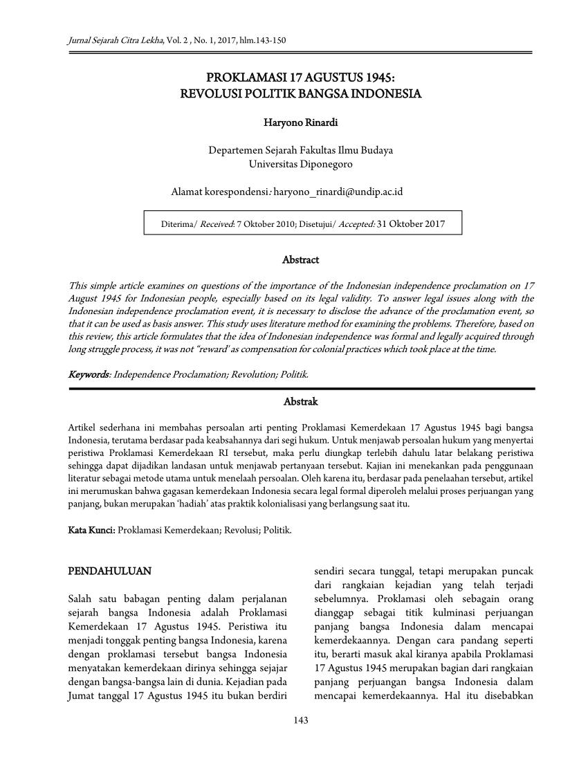 Download Teks Proklamasi : download, proklamasi, Proklamasi, Agustus, 1945:, Revolusi, Politik, Bangsa, Indonesia