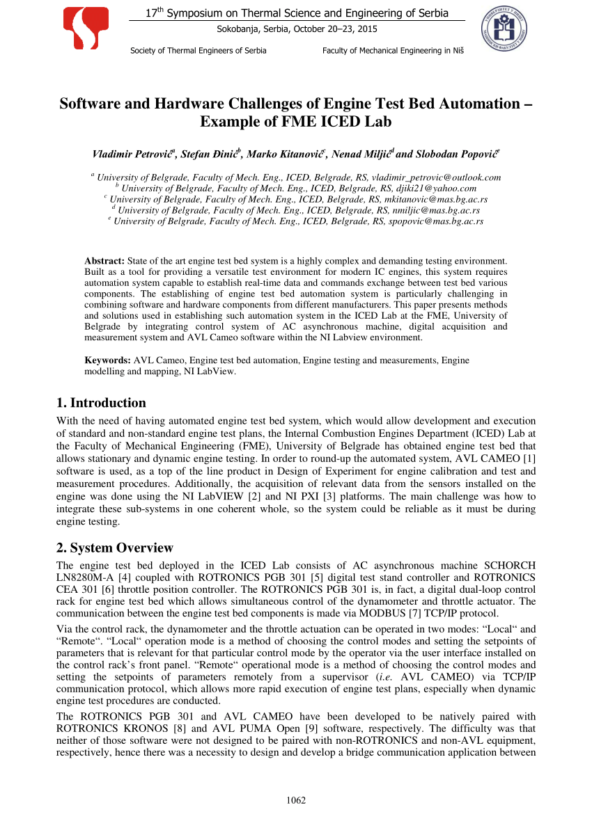 PDF Software And Hardware Challenges Of Engine Test Bed