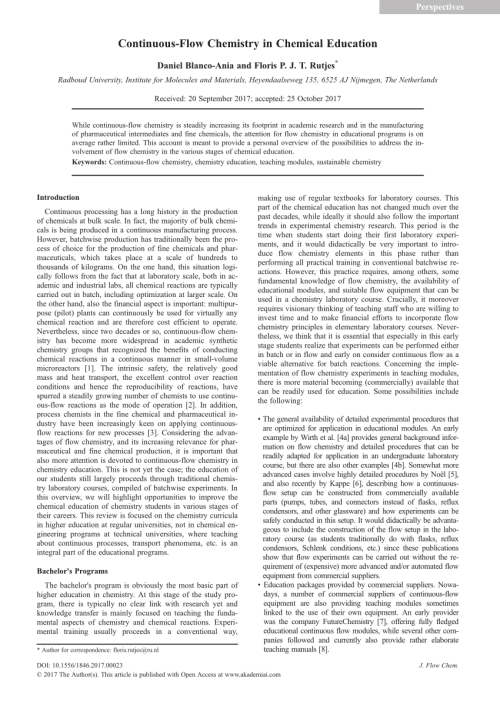 small resolution of  pdf continuous flow chemistry in chemical education