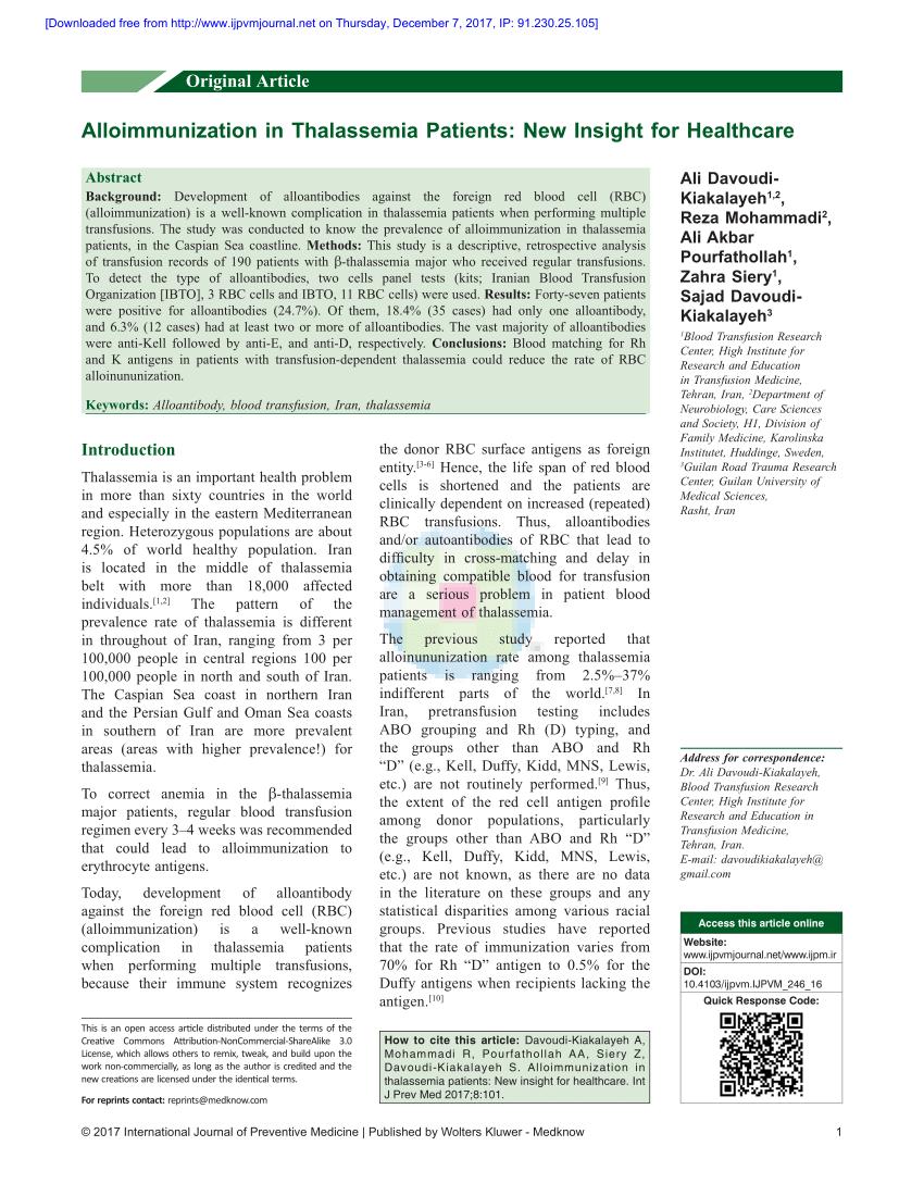 PDF Alloimmunization In Thalassemia Patients New Insight For
