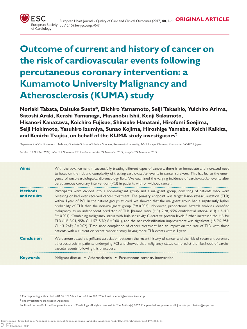 Outcome Of Current And History Of Cancer On The Risk