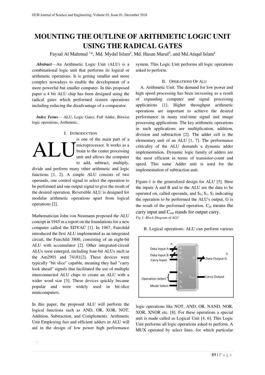 hight resolution of  pdf mounting the outline of arithmetic logic unit using the radical gates