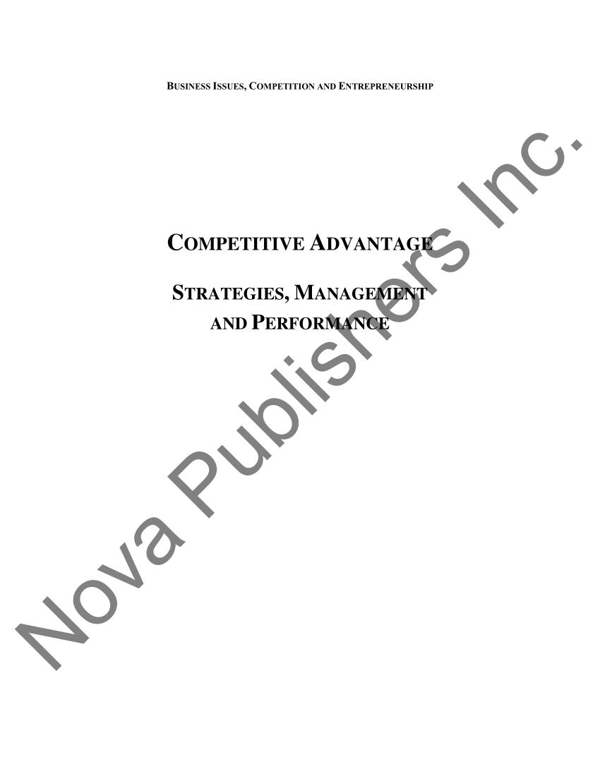 (PDF) Competitive advantage: Strategies, management and