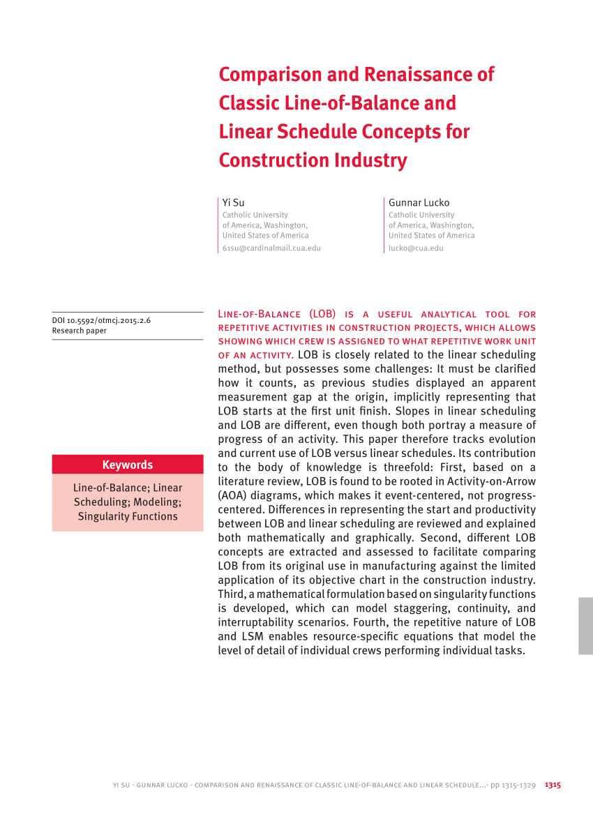 medium resolution of  pdf comparison and renaissance of classic line of balance and linear schedule concepts for construction industry