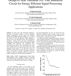 pdf design of near threshold 10t full subtractor circuit for energy efficient signal processing applications [ 850 x 1202 Pixel ]