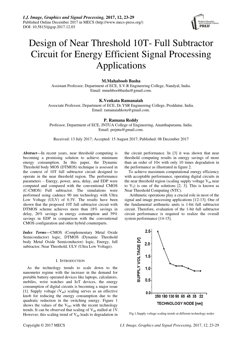 hight resolution of  pdf design of near threshold 10t full subtractor circuit for energy efficient signal processing applications