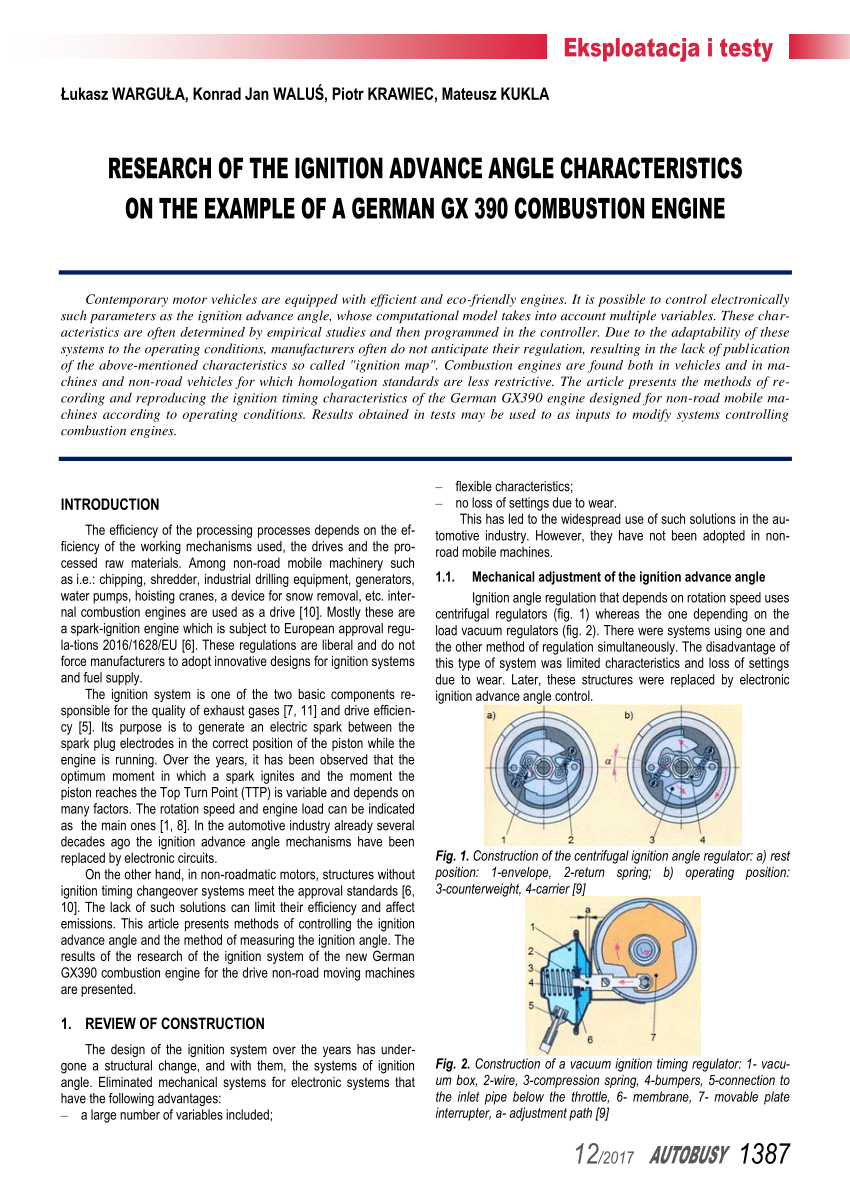 hight resolution of  pdf research of the ignition advance angle characteristics on the example of a german gx 390 combustion engine