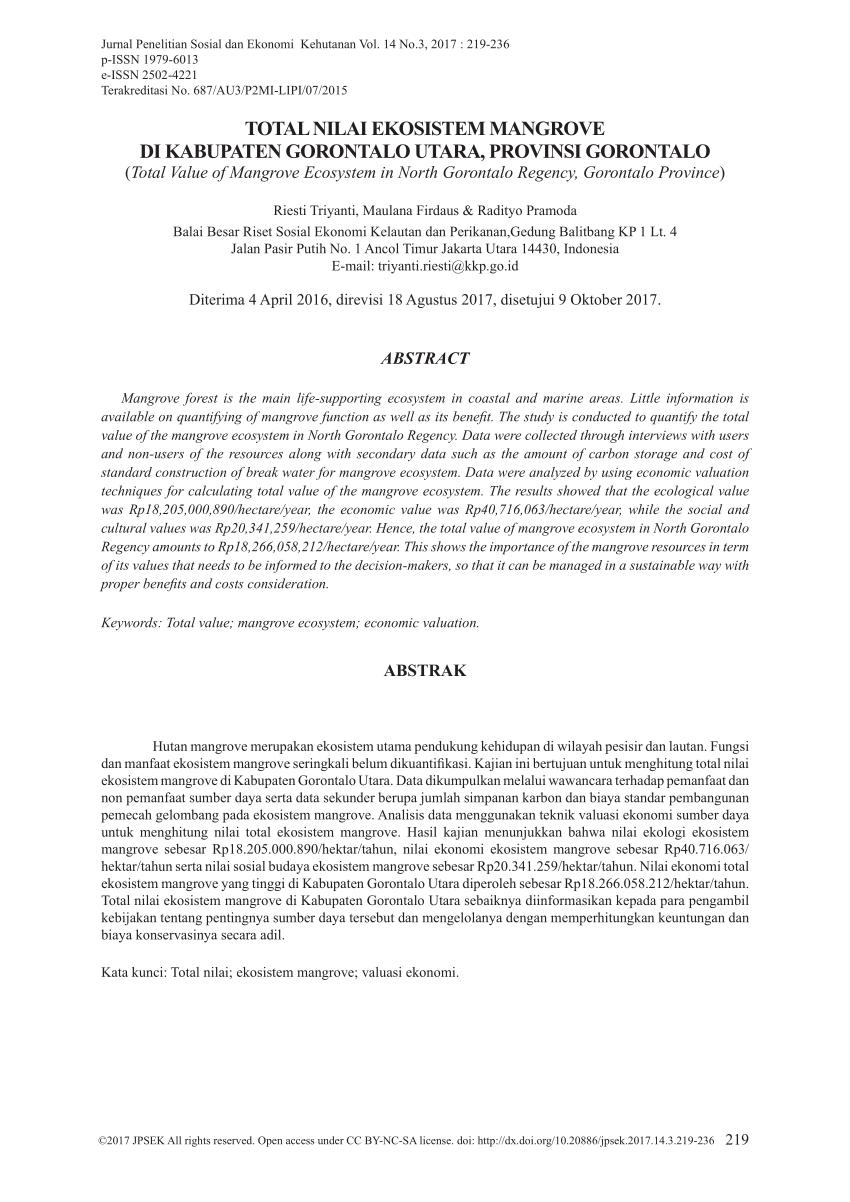 hight resolution of  pdf total nilai ekosistem mangrove di kabupaten gorontalo utara provinsi gorontalo