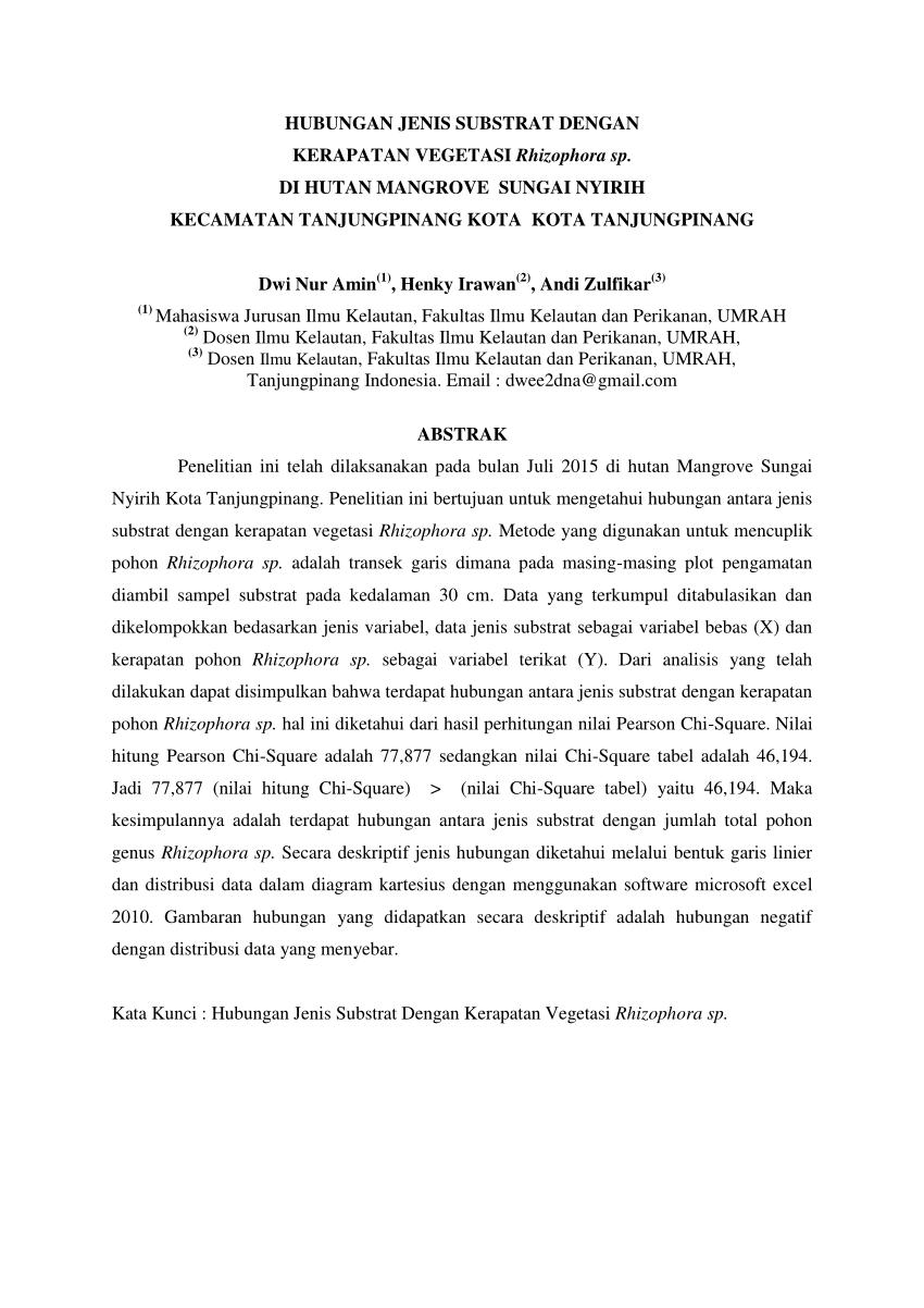 medium resolution of  pdf hubungan jenis substrat dengan kerapatan vegetasi rhizophora sp di hutan mangrove sungai nyirih kecamatan tanjungpinang kota kota tanjungpinang dwi