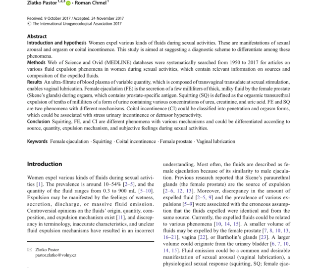 Pdf Female Ejaculation Orgasm Vs Coital Incontinence A Systematic Review