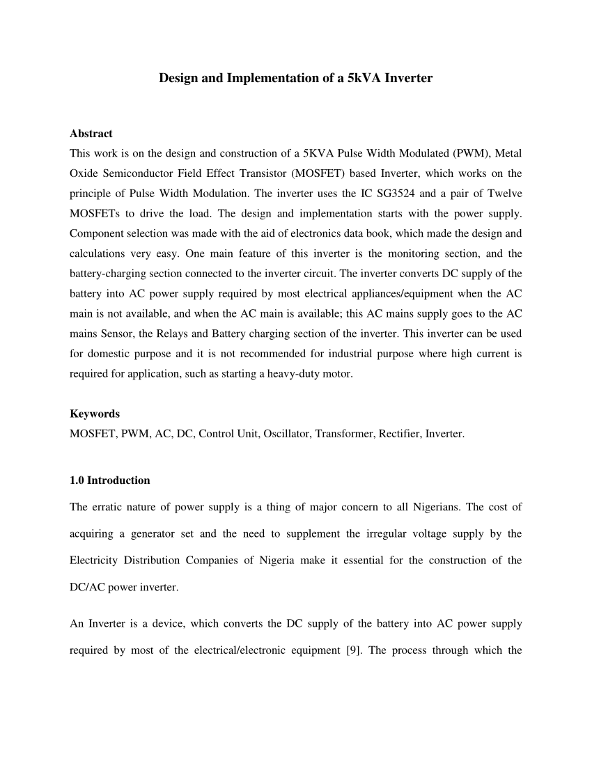 medium resolution of  pdf design and implementation of a 5 kva inverter