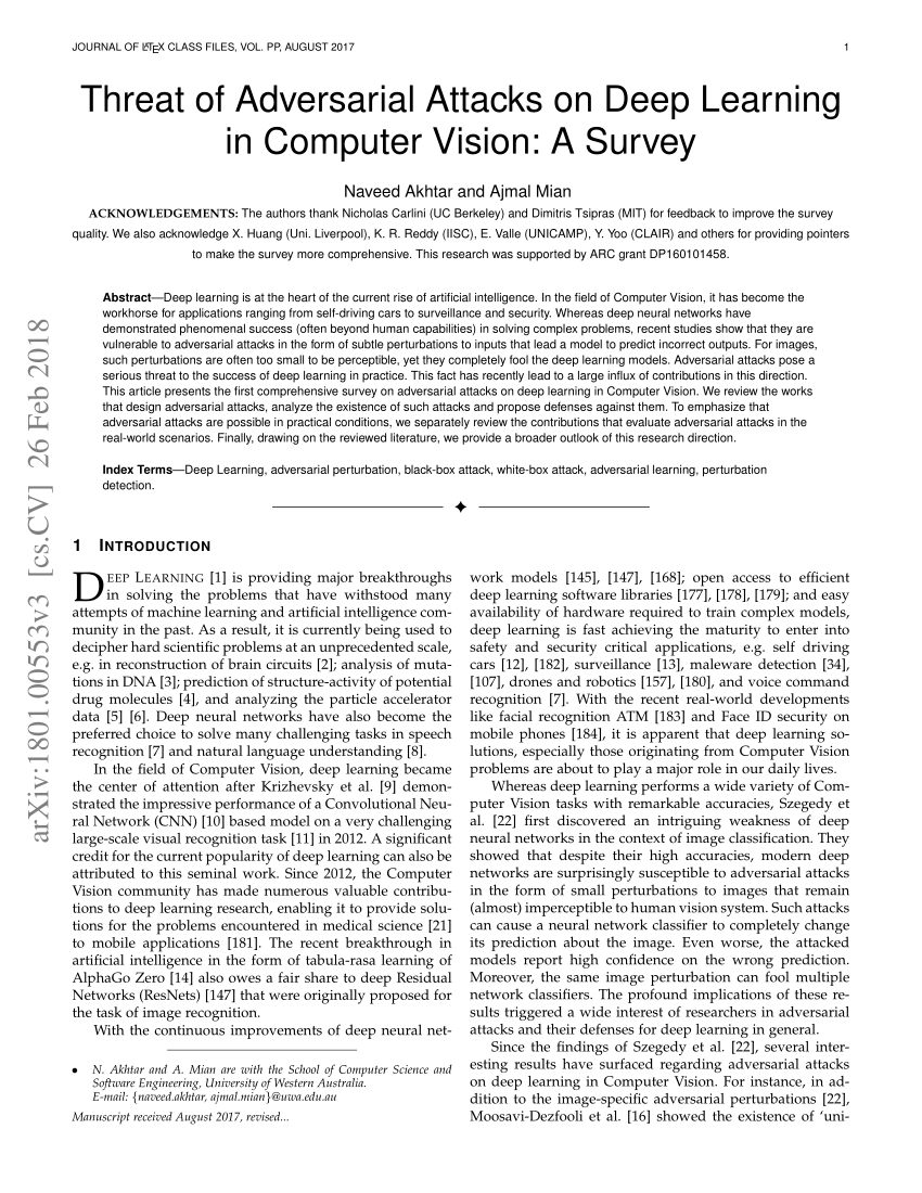 (PDF) Threat of Adversarial Attacks on Deep Learning in Computer Vision: A Survey