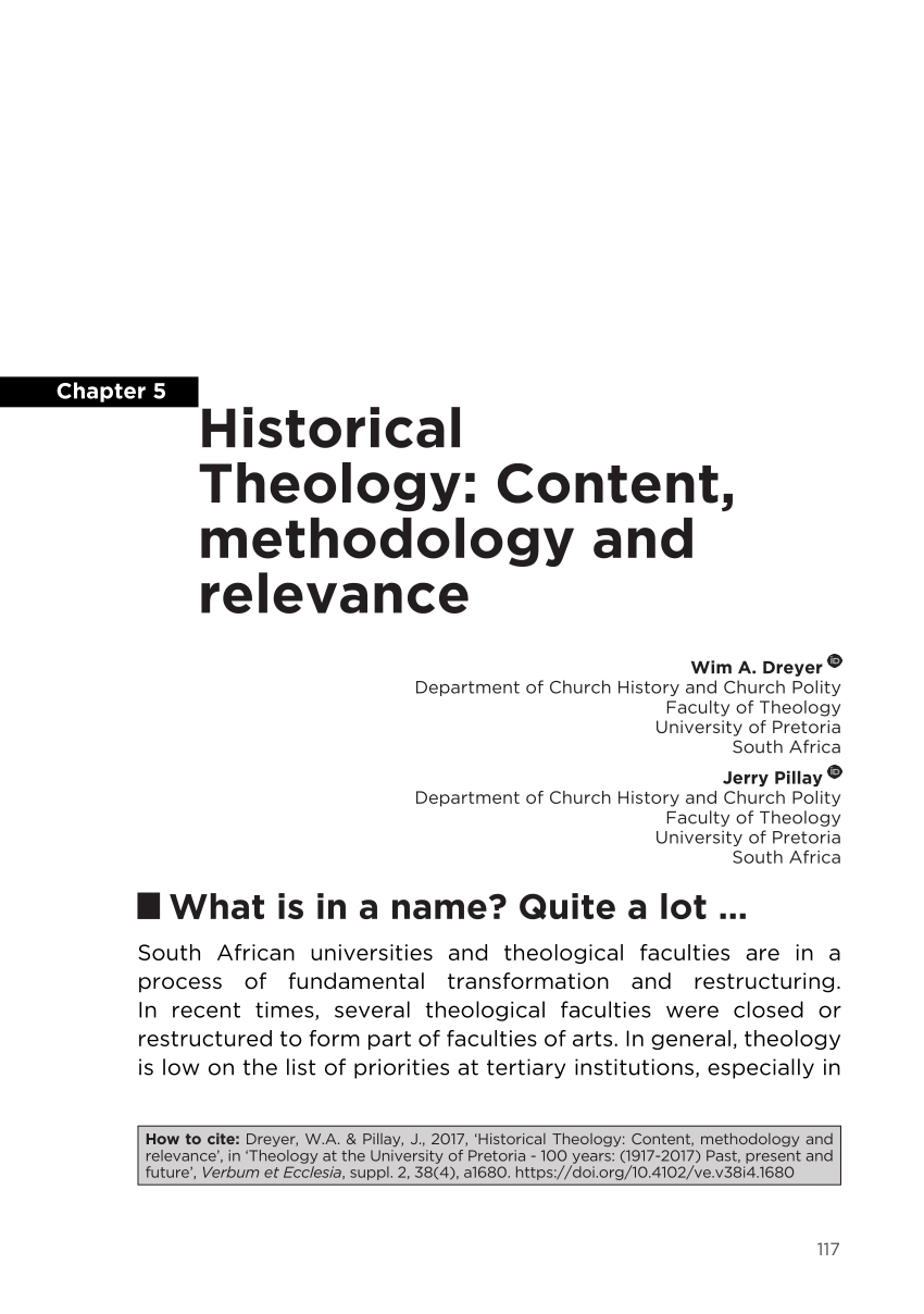 Historical Theology Content Methodology PDF Download Available