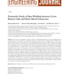pdf parametric study of spot welding between li ion battery cells and sheet metal connectors [ 850 x 1202 Pixel ]