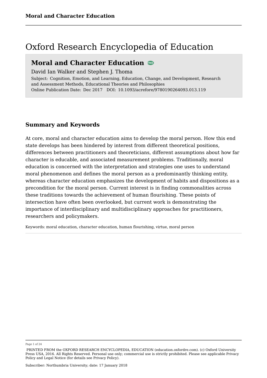 medium resolution of PDF) Moral and character education