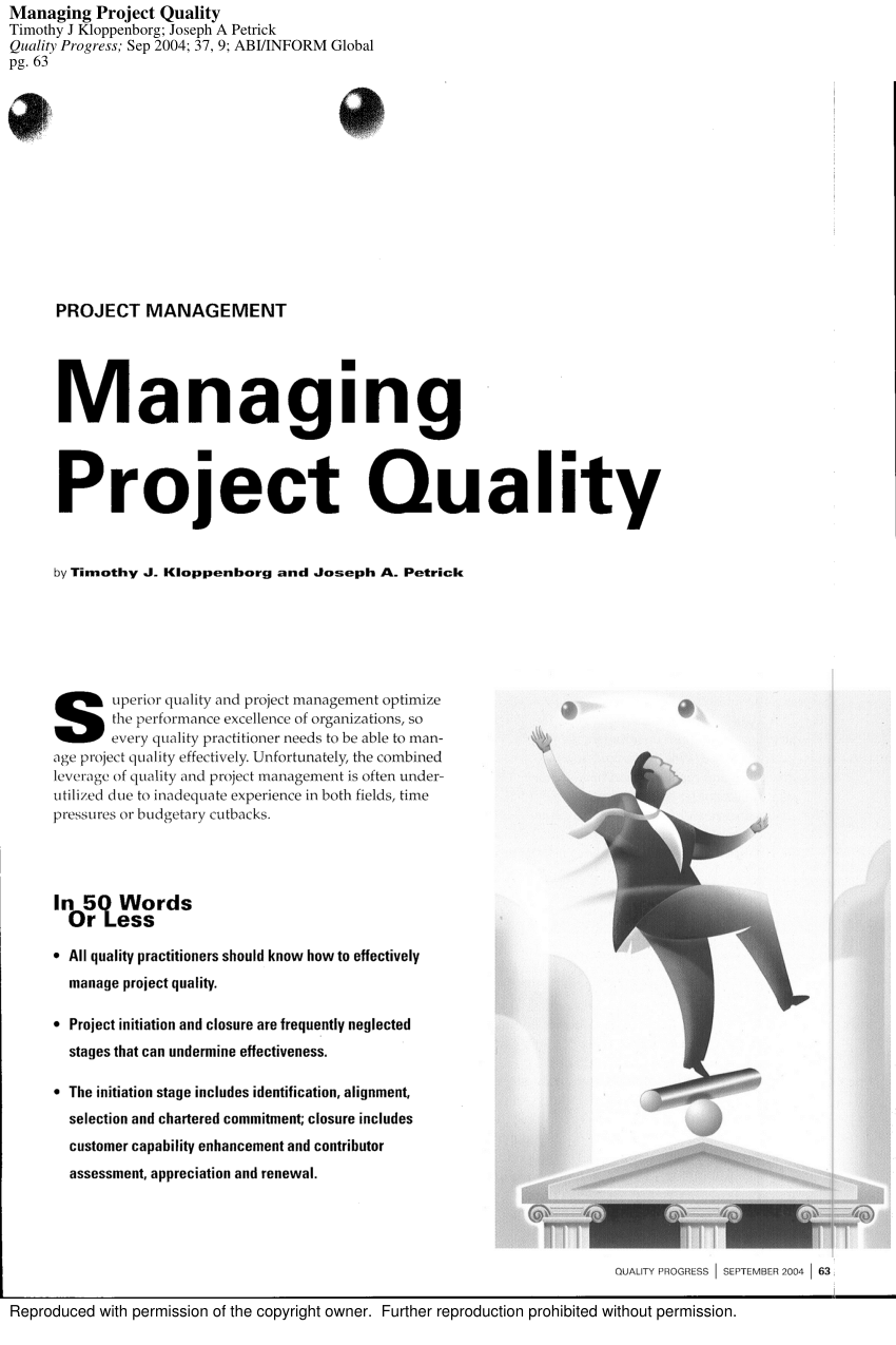 (PDF) Managing project quality