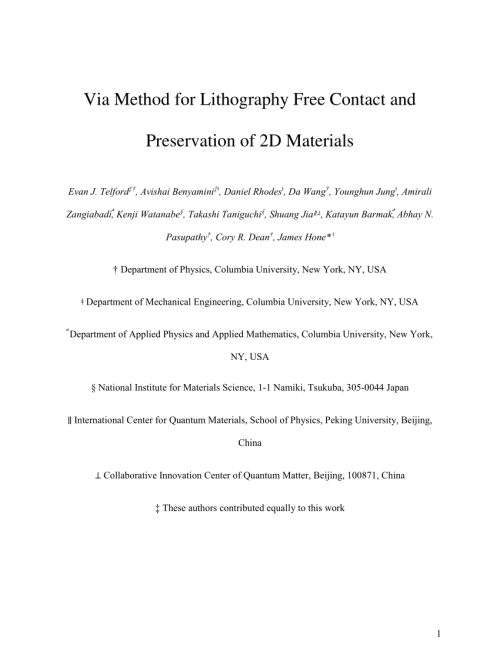 small resolution of  pdf via method for lithography free contact and preservation of 2d materials