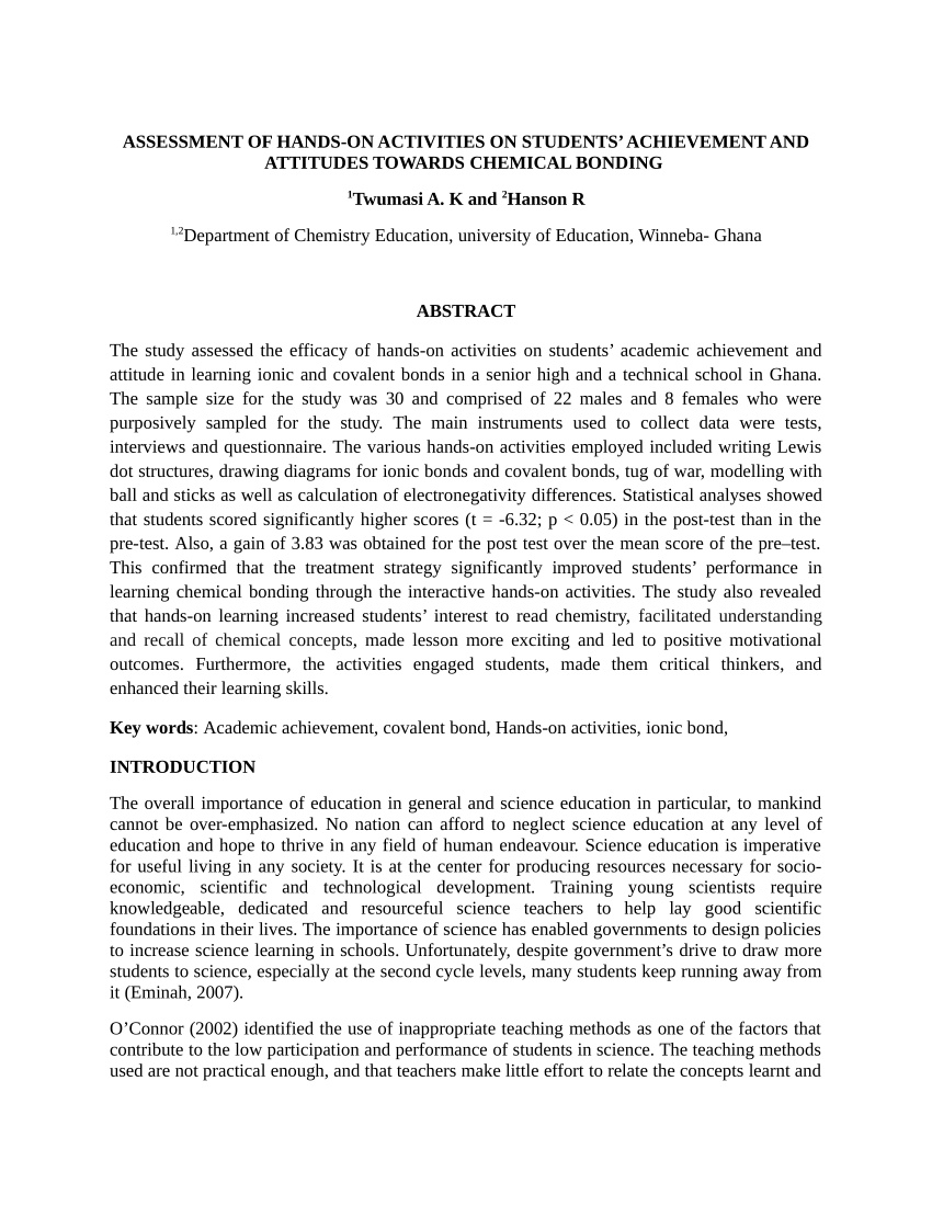 medium resolution of PDF) Assessment of Hands-on Activities on Students' Achievement and  Attitudes towards Chemical Bonding
