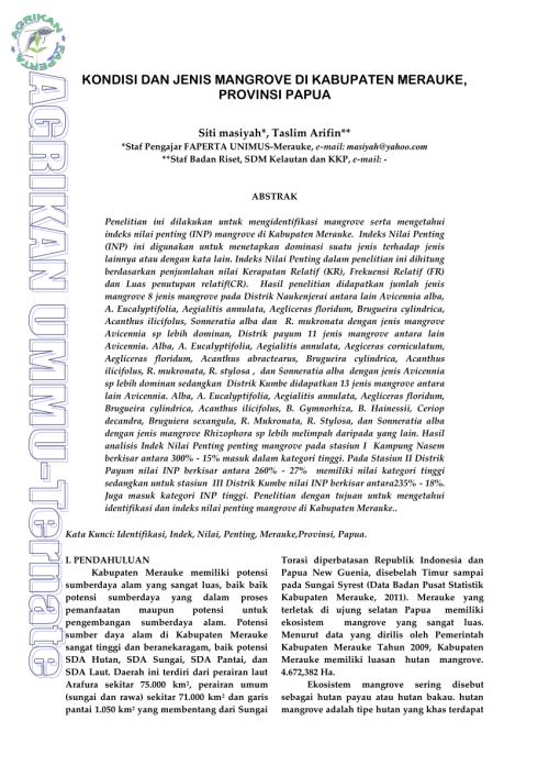 small resolution of  pdf kondisi dan jenis mangrove di kabupaten merauke provinsi papua