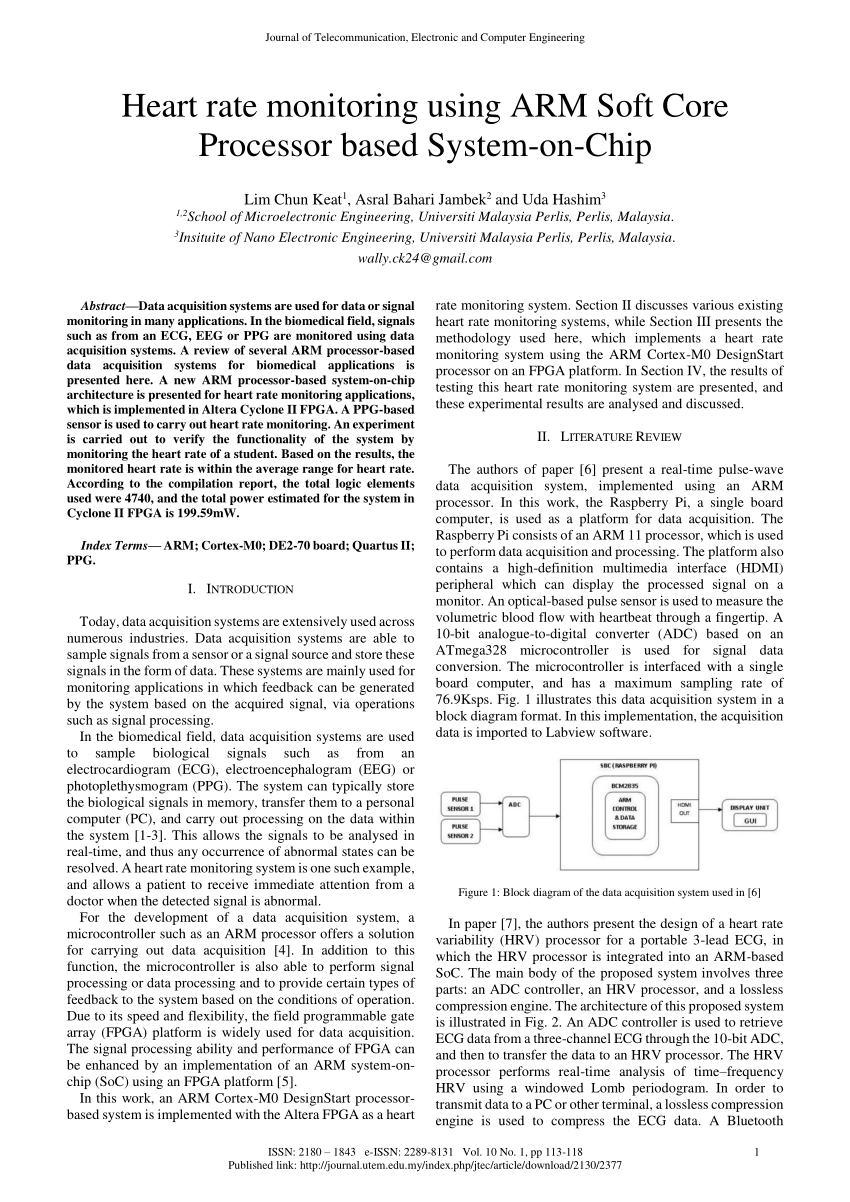 medium resolution of  pdf heart rate monitoring using arm soft core processor based system on chip