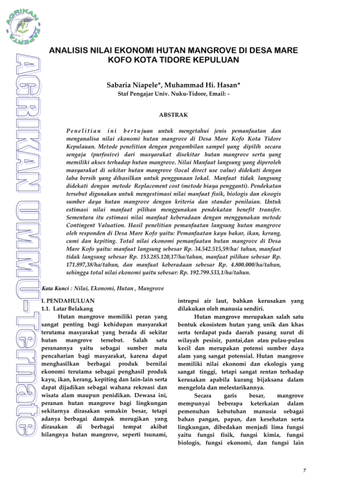 small resolution of  pdf analisis nilai ekonomi hutan mangrove di desa mare kofo kota tidore kepuluan