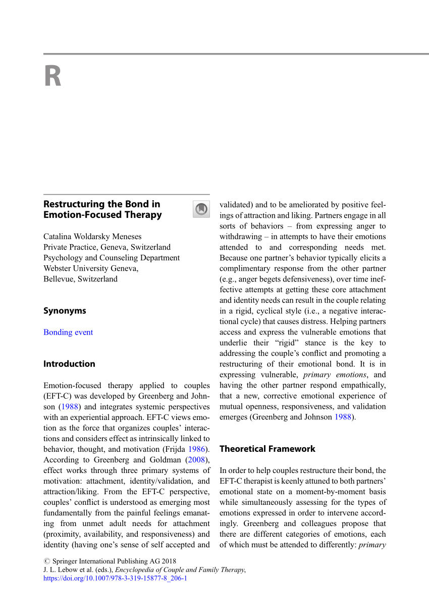 (PDF) Woldarsky Meneses C. (2018) Restructuring the Bond in Emotion-Focused Therapy. In: Lebow J.. Chambers A.. Breunlin D. (eds) Encyclopedia of ...