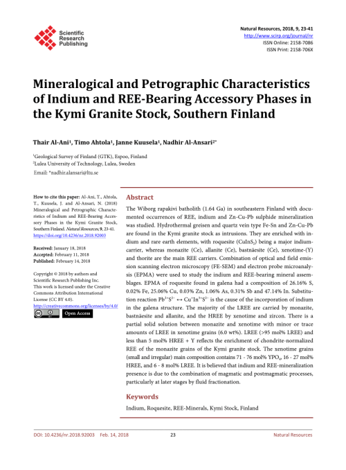 small resolution of  pdf mineralogical and petrographic characteristics of indium and ree bearing accessory phases in the kymi granite stock southern finland
