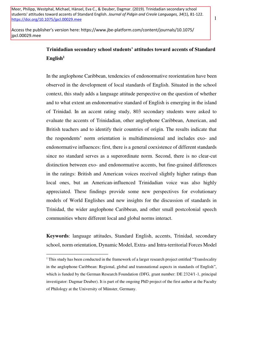 (PDF) Trinidadian secondary school students' attitudes toward accents of Standard English